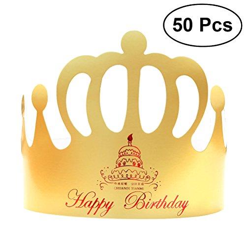 BESTOYARD 50 stücke Geburtstag Crown Hüte Party Papier Tiara Hüte DIY Handwerk Hut für Kinder Erwachsene