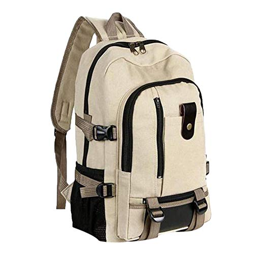 CHENHUI Rucksack Rucksack Unisex Damenmode Einfache Doppel-Schulter Canvas Rucksack Schultasche Reise Multifunktions-Taschen-Khaki -