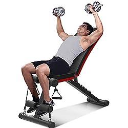 YOLEO Banc de Musculation Pliable 2 en 1 Sit-up Multifonction Fitness Entraînement 7 Positions Musculation Bras Abdominaux Gym Domicile Bureau