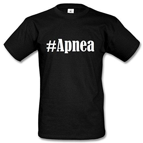 T-Shirt #Apnea Hashtag Raute für Damen Herren und Kinder ... in den Farben Schwarz und Weiss Schwarz