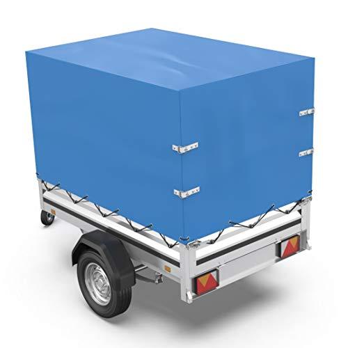 Tarpofix© Anhängerplane Hochplane mit Gummigurt 210x115x90cm - randverstärkte & robuste Stema Anhänger Plane (blau) - Langlebige Anhänger Abdeckplane für diverse 750 kg PKW Autoanhänger I HP1