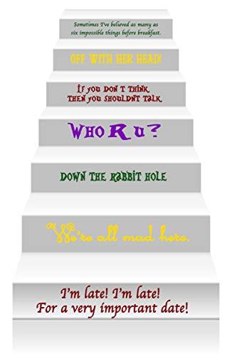 GMD Decals Wandsticker Alice im Wunderland mit Zitat aus Vinyl, für Treppen oder Wandaufkleber, Set mit 14 Alice Story, 60 x 5-10 cm pro Zitat, Cheshire Mad Hatter Storybook-Dekoration, 14 Stück