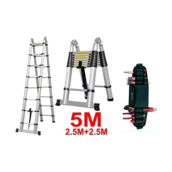 Corvids 5.0m (2.5+2.5m), 16.5 ft Double Extension A-Type Portable Aluminium Telescopic Ladder with Mag Hinge & Ultra-Stablizer Rod, 16-Steps Folding Multipurpose Ladder