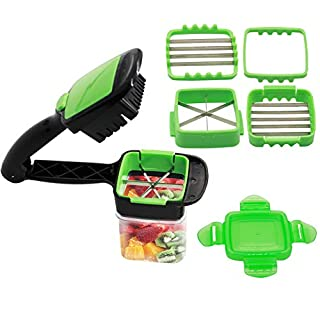 Vegetables Cutter, 5 in 1 Fruits Cutter Chopper Slicer Column Egg Cutter Crusher Perfect for Kitchen Cooking Xmas New Year Dinner Party (Green)