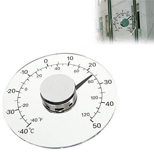 Außenthermometer Fahrenheit/Celsius Grad, transparentes rundes Fenster batterieloses selbstklebendes wasserdichtes Heimthermometer für Tür & Fenster