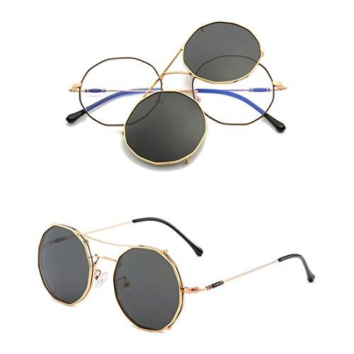 YHgiway Vintage Runde Rahmengläser - Nicht verschreibungspflichtige klare Clear Lens Brillengestell - Unisex Clip-OnObjektive Sonnenbrille UV400-Schutz, YH7754,GoldFrame/BlackGrayClip