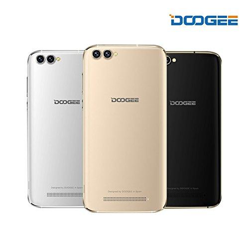 """Smartphone Libre - DOOGEE X30 Teléfono Móvil con Cuatro Cámaras (5.5""""HD, cristal curvo 2.5D, Android 7.0, octa-core MediaTek, 2GB RAM 16GB ROM, 3380 mAh, marco matálico), negro"""