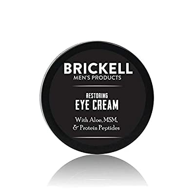 Brickell Men's Restoring Eye Cream for Men, Natural and Organic Anti Aging Eye Balm To Reduce Puffiness, Wrinkles, Dark Circles, Crows Feet and Under Eye Bags, 15 mL, Unscented