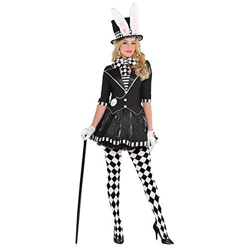 fasching kostueme damen maerchen Verrückter Hutmacher Damen-Kostüm Dark Mad Hatter aus Alice im Wunderland Hut mit Hasenohren, Größe:M