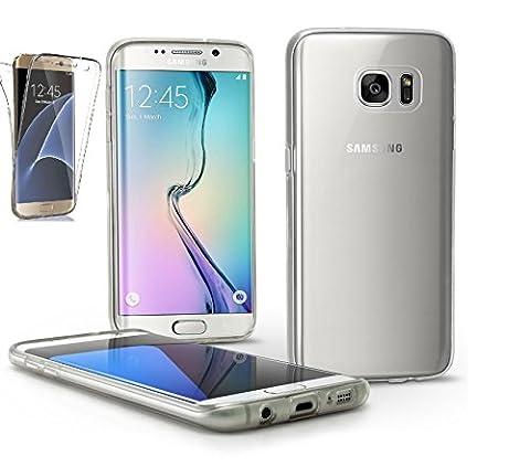 NWNK13® Coque anti-chocs ultra fine avant et arrière transparente protection Full Body à 360° en gel silicone TPU avec rangement pour cartes pour Samsung Galaxy Galaxy S7 Edge claire