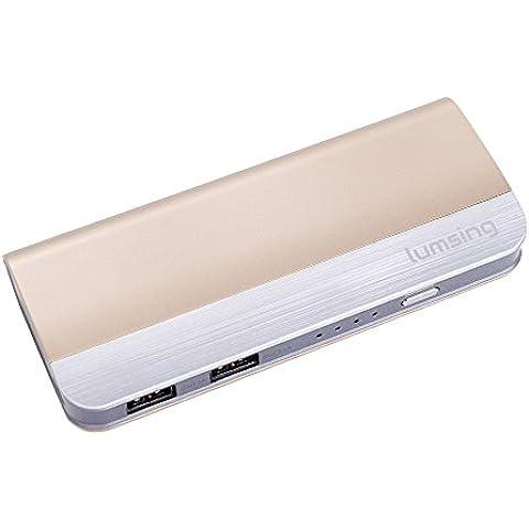 Lumsing 10400mAh Batería externa portátil ultra delgada, Energía móvil, 2 puertos de Cargador 5V/1A,5V/2.1A para Smartphones  iPhone 6s plus / 6 plus / 6s / 6 / 5s / 5, iPad, iPod, Samsung, Tablet PC, HTC, MP3, MP4, PSP, GoPro, GPS y otros dispositivos USB (Color oro)