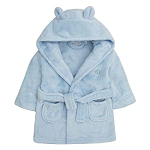 Baby Boys & Girls Unisex Dressing Gown (Ages 6-24 Months) Soft Plush Flannel Fleece Hooded Bath Robe, Blue, 12 - 18 Months