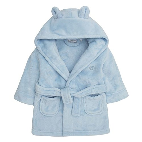 Baby Boys & Girls Unisex Dressing Gown (Ages 6-24 Months) Soft Plush Flannel Fleece Hooded Bath Robe