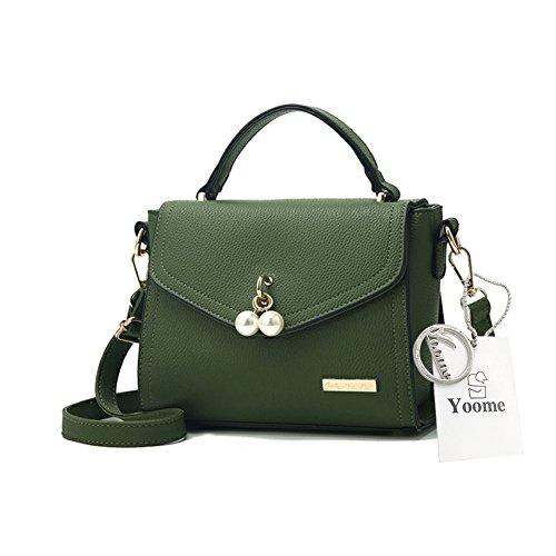Yoome Elegante Perle Anhänger Klappe Tasche Lichee Muster Tasche Stilvolle Taschen Für College Girls - Grau Grün