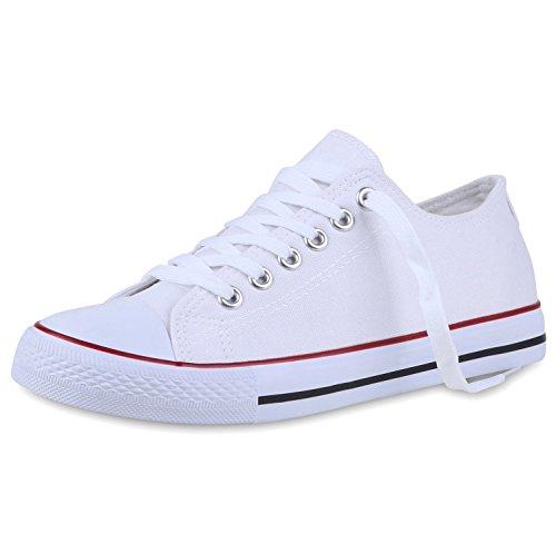 Bequeme Unisex Sneakers | Low-Cut Modell | Basic Freizeit Schuhe | Viele Farben | Gr. 36-45 Weiss Rot