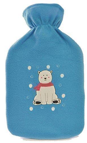 2 Litri Acqua Calda Bottglia con Natale Pile Copertura - Blu con Orso Polare