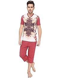 Nightwear For Men - Night Suit - Tshirt & Capri Combo Set - Sinker Material - Red Color - Half Sleeves - Branded...