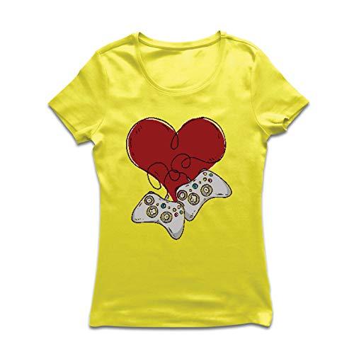 lepni.me Frauen T-Shirt Video-Spieler, Controller Herz (Medium Gelb Mehrfarben) -