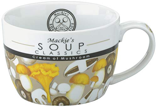 Soup Mug, mushroom design, 22 ounce, fine porcelain with high quality glaze, includes Cream of Mushroom Soup recipe, bilingual.;Generously sized mug is perfectly shaped to wrap your hands around when full of delicious warm soup.;Designed in the UK by...
