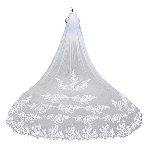 LEORX Premium Matrimonio Velo ricamo pizzo lungo bordo da sposa velo Mantilla con pettine (Sposa Abito Lungo)