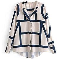 ZXF Impresion de Camisetas de Mujer Casual Collar Geometrica,Blanco,S