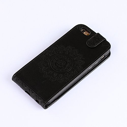 Custodia iPhone SE / 5S / 5, iPhone SE / 5S / 5 Cover, ikasus® iPhone SE / 5S / 5 Custodia Cover [PU Leather] [Shock-Absorption] Protettiva Portafoglio Cover Custodia sole indiano Datura fiori Modello Nero