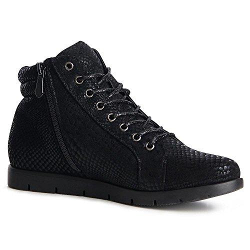 Damen 870 Topschuhe24 High top Sneaker Schwarz gAfxU5qFn