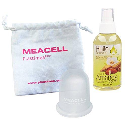 ANTI CELLULITE kit ultra complet - 1 Ventouse Minceur Hypoallergénique Meacell + 1 Huile de Massage Amande Douce - Opération Peau Lisse et Raffermie - Traitement remodelant cuisse et ventre