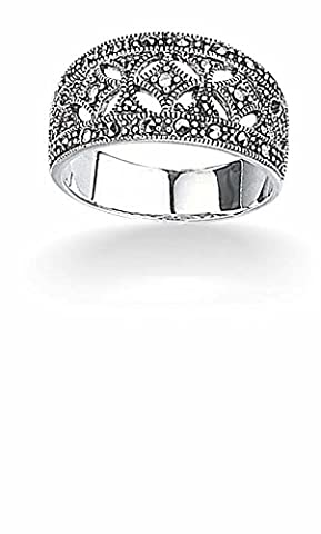 Elements Silver R2012 54 Ladies' Marcasite Wide Sterling Silver Ring - Size 54 EU, (17.2 cm)