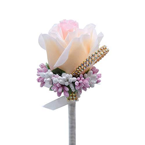 eckblumen Boutonniere Hochzeit SeideBräutigam Brosche Pin Blume für Bräutigam Braut 7cm*12cm Champagner ()
