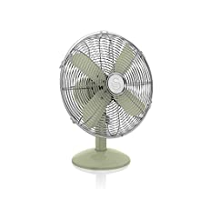 Swan SFA12620GN Green Retro 12 Inch Desk Fan, Metal Blades, Oscillation and Tilt Function, 3 Speed Settings, Aluminium, 45 W