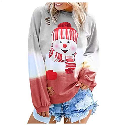 Smonke Damen Mode Sweatshirt Weihnachtsdruck Allmähliche Farbe Langarm Rundhals Shirts Bluse Lose Street Tops Frauen Herbst Winter Pullover -