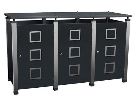 Mülltonnenbox für drei Tonnen zu je 120 Liter, Modell Pacco Quad 2
