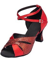 Kevin Fashion Ladies mz578Peep Toe Med talón rhinestone satén novia boda zapatos sandalias, color Rojo, talla 42