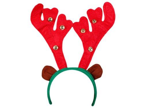 Serre tête en forme bois de renne cerf rouge avec grelots (wm-21), Hauteur du motif bois de renne environ 20 cm avec petites clochettes Convenable aux adultes et aus enfants grace à sa flexibilité, Ce serre-tête ne vous fera pas passer inaperçue pendant ces Fêtes de Noël accessoire idéal pour se déguiser et faire la surprise pour les petits enfants, Haute de Gamme ALSINO