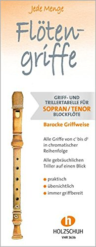 Jede Menge Flötengriffe: Griff- und Trillertabelle für Sopran- und Tenorblockflöte barocke Griffweise