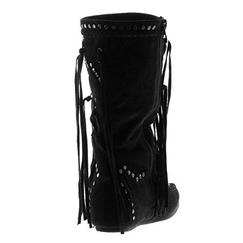 Angkorly Scarpe Moda Stivali - Scarponi Stivali con Le Frange Cavalier Folk Donna Frange Borchiati Tacco Tacco Piatto 5 cm Nero