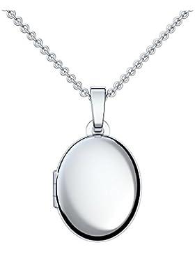 Medaillon oval Silber Amulett (Mealion, Medallion) zum Öffnen, aufklappen, aufklappbar mit Kette für Foto Silber...
