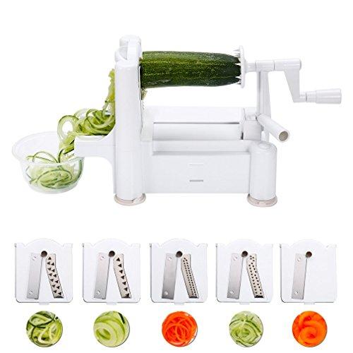 Preup Gemüse Obst Spiralschneider mit 5 Edelstahlklinge Schneideaufsätzen Stärkste und Schwerste Duty für Gemüse-Spaghetti, Rohkost-Salate, Spiralen, Julienne, Spaghetti, Nudeln, Band-oder Fadennudeln