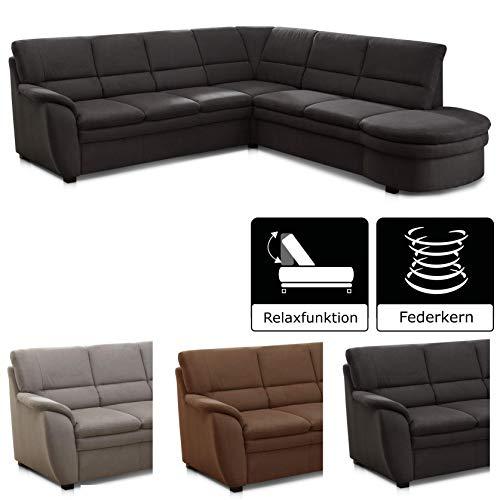 Cavadore Ecksofa Gingle / Sofa mit Federkern, Relaxfunktion und hochwertigem Mikrofaser-Bezug in Wildlederoptik
