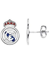 Pendientes escudo Real Madrid oro blanco ley 9k [AB4805]