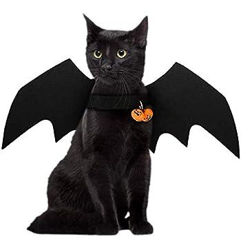 FineInno Halloween Chauve-Souris Costumes Bat Wings Animaux domestiques Pet Deguisement Vêtements Chat Cosplay Costume pour Noël, Pâques Décoration (Bat Ailes avec des Cloches)