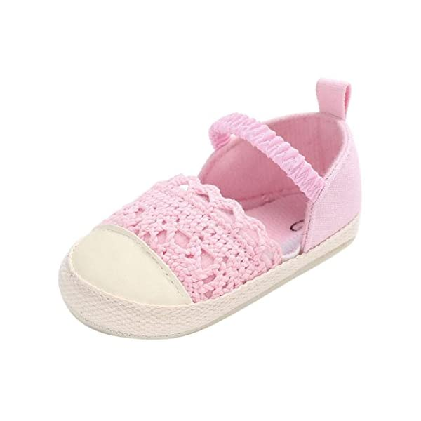 Janly® Girls Shoes, Crib Shoes Toddler Lace Princesses Single Shoes Infant Canvas Flat Prewalkers For 0-18 Months Baby