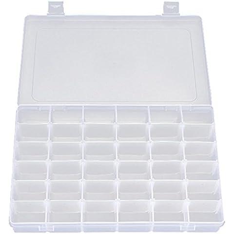 36Griglie in plastica regolabile Orecchini Perline Box Holder Organizer contenitore, chiaro