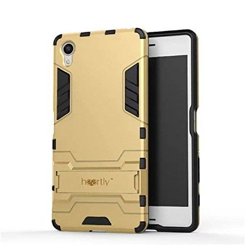 Heartly Graphic Designed Kick Stand Hard Rugged Armor Hybrid Bumper Back Case Cover For Sony Xperia XA / Sony Xperia XA Dual – Mobile Gold (Not For Sony Xperia XA Ultra)