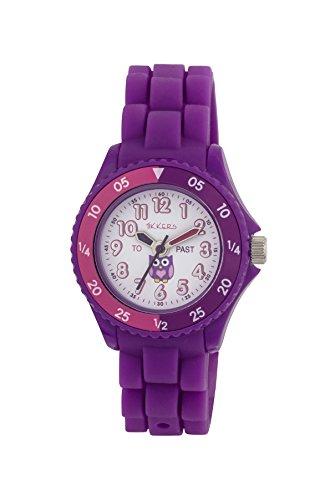 Tikkers NTK0003 Montre d'apprentissage de l'heure en silicone pour enfant - Motif chouette - Violet