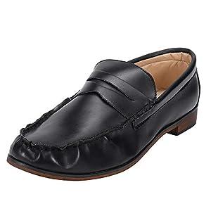 ☺HWTOP Lederschuhe Casual Damen Sportschuhe Plateauschuhe Runde Zehe Schuhe Leder Booties Slip-On Platz Ferse Einzelne Schuhe