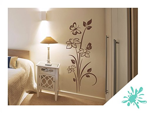 Exklusivpro Wandtattoo Blumen Pflanze Narzissen mit Schmetterlinge für Wohnzimmer Schlafzimmer Flur oder Diele (jap44 mint) 150 x 62 cm mit Farb- u. Größenauswahl -