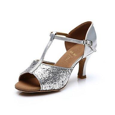 Chaussures De Danse - Personnalisable - Pour Femme - Danse Latino-américaine / Salsa / Samba - Talon Personnalisé - Paillette -noir / Argent / Argent