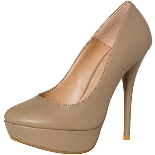 CASPAR - Escarpins à plateau/plateforme pour femme / Chaussures à talon / TAILLE PETIT : se référer au guide des tailles dans la description produit en bas de page - plusieurs coloris - SBU001 Kaki